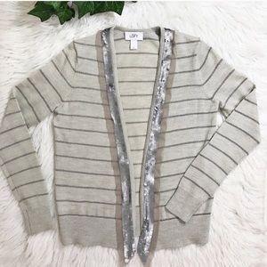 Ann Taylor Loft Gray Sequin Metallic stripe Cardi
